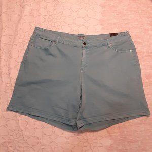Lane Bryant teal roll-up girlfriend shorts sz 28W